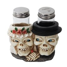 Wedding Skull Bride and Groom Salt Pepper Shaker Holder Figurine - $20.78