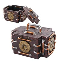Steampunk Inspired Mechanical Gauge Box with Lid Statue Figurine - $21.78
