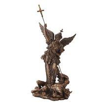 12.25 Inch Saint Michel Killing a Demon Bronze Finish Statue Figurine - $40.70