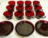 12 Royal Ruby Red 5 oz Tea Cups Footed Punch Glasses & 6 Saucers Anchor Hocking
