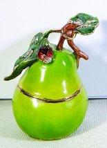 2.38 Inch Green Pear with Stem Bejeweled Jewelry/Trinket Box Figurine - $29.45