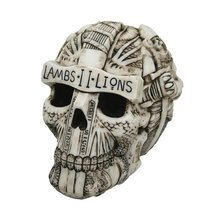 6.5 Inch Lambs and Lions Templar Skeleton Skull Statue Figurine - $31.19