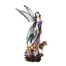 23.25 Inch Winter Princess Fairy with Two Wolves Statue Figurine - $129.67