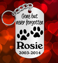 Dog Memorial Keychain, Gone but never forgotten, Pet Cat , Personalized ... - $9.95