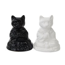 BUDDHA CATS MEDITATING CERAMIC MAGNETIC SALT PEPPER SHAKERS by Attractives - $10.89