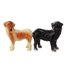 Attractives Dogs Ceramic Magnetic Salt and Pepper Shakers Set, Golden/Black - $10.10