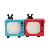 RETRO TELEVISIONS CERAMIC MAGNETIC SALT PEPPER SHAKERS - $12.86