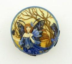 4 Inch Peacock Fairy Scene Round Jewelry/Trinket Box Figurine, Blue - £11.24 GBP