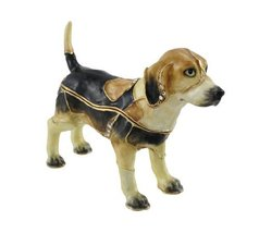 Beagle Puppy Jewel Studded Snap Closure Jewelry/Trinket Box Figurine - $33.46