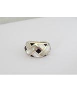 Vintage Sterling Silver Black Oynx & MOP Domed Ring Size 6.75 - $45.00