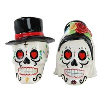 Day of the Dead Bride and Groom Skulls Ceramic Salt and Pepper Shakers - $12.86