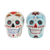 1 X Day of Dead Sugar White & Blue Skulls Salt & Pepper Shakers Set- Sku... - $12.86