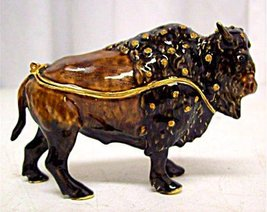 American Bison Jeweled Trinket Box Buffalo Bejeweled - $25.25