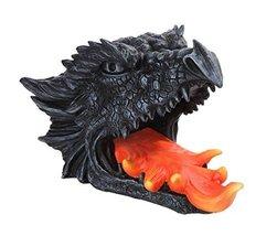 "10.75""L Gothic Dragon Skull Head Wine Bottle Holder Stone Fire - $26.73"