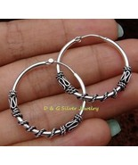 Sterling Silver 27 mm Bali Hoop Earrings SE-179-DG - $17.50