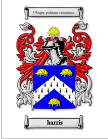 HARRIS SURNAME COAT OF ARMS PRINT - GENEAL Bonanza