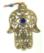 JUDAICA - BIG BRONZE HAMSA WITH BLUE BEAD AND FISHES FOR LUCK - $6.99
