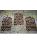 "~Scalloped Paris Script Tags~18 Decorative Tags~Size-2¾""H x 3¼""W~With St... - $3.99"