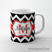 Black and red chevron design Tea Mug, customize... - $12.99
