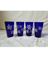 Libbey Cobalt Tumbler Highball Set of 4 Glass Overlay Rigaree Snowflakes Vintage - $37.00
