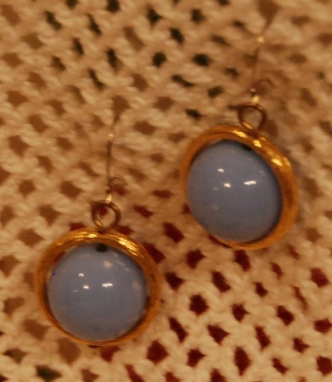 pale blue bead dangling earrings set in goldtone ring Bonanza