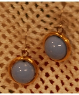 pale blue bead dangling earrings set in goldton... - $6.00