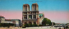 PARIS in 1900s Beautiful Chromotype Photo - Notre Dame Cathedral Front View - $25.20