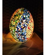 Colored African Glass Egg Table Lamp Metal Base Oriental Handmade Lightining - $105.00