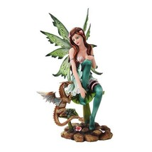 10 Inch Green Winged Fairy Sitting with Baby Dragon Statue Figurine - £25.06 GBP