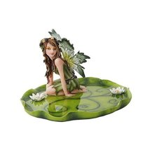 "10274 Resin Jewelry Holder Tray Dish Fairy Figurine on Leaf, 6.25"" - $28.70"