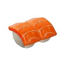 JAPANESE SALMON SUSHI CERAMIC MAGNETIC SALT PEPPER SHAKERS - $12.86