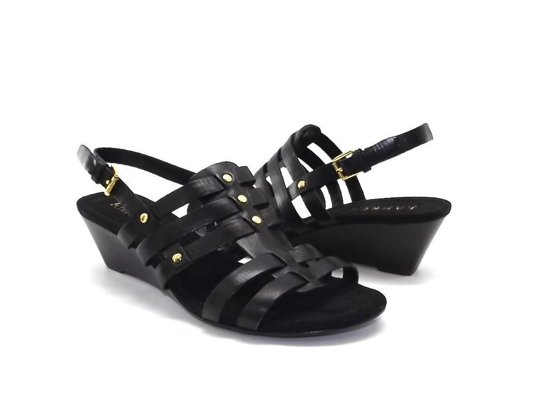 NEW WOMENS RALPH LAUREN SHOES LUCETTA BLACK LEATHER SANDALS GLADIATOR WEDGE 5 B
