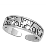 14k White Gold Over 925 Pure Silver Elephant Design Women's Adjustable T... - $9.99