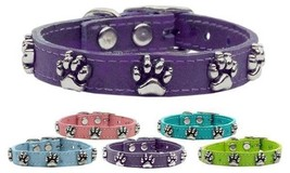 Faux Ostrich Paw Prints Genuine Leather Dog Collar * Latigo Puppy Love P... - €15,57 EUR+