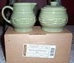 Longaberger Cream Sugar & Creamer Set Sage Gree... - $47.47