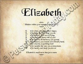 Elizabeth Hidden Within Your Name Is A Special Story 8.5 x 11 Print - $8.95