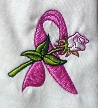 Breast Cancer Awareness Pink Ribbon Rose White Crew Neck Sweatshirt XLarge New - $22.77