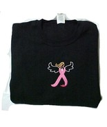 Breast Cancer Pink Ribbon Angel Black Crew Neck Sweatshirt Centered Ches... - $30.66