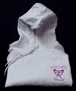 Breast Cancer Survivor Pink Ribbon Gray Butterfly Hoodie Sweatshirt 2X New - $32.64