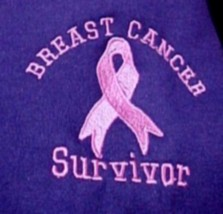 Breast Cancer Survivor Pink Ribbon Purple Hoodie Sweatshirt Small New - $27.13