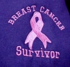 Breast Cancer Survivor Pink Ribbon Purple Hoodie Sweatshirt Small New - $27.13