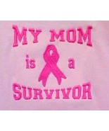 My Mom is a Survivor Ribbon Pink Awareness Embroidery Short Sleeve T Shi... - $23.97