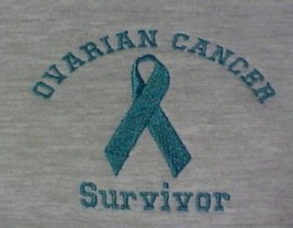Ovarian Cancer Teal Ribbon SURVIVOR Gray Crew Neck Sweatshirt 2X Unisex New - $23.01