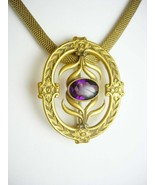 Antique Victorian Necklace & Sash Pin brooch Amethyst jeweled Czech Pend... - $225.00