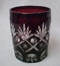 Red Bohemian Star Cut Glass Overlay Pickle Jar Tumbler Glass Collectible... - $39.97