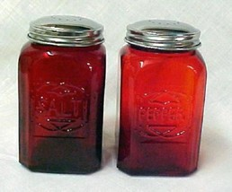 Ruby Red Depression Glass Stove Top Hoosier Salt Pepper Shakers New - $19.37