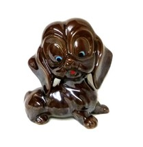 Vintage Redware Clay Brown Puppy Dog Pottery Figurine Collectible Japan - $29.37