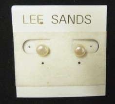 Vintage Lee Sands Faux Pearl Costume Fashion Stud Pierced Earrings Used - $19.37