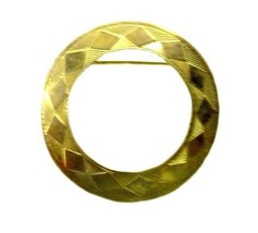 Vintage Modernist Geometric Design Pattern Gold Open Circle Pin Brooch Used - $39.17
