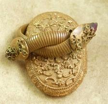 Antique Snake Bracelet Vintage Cleopatra's delight Wide Serpent coils Am... - $295.00
